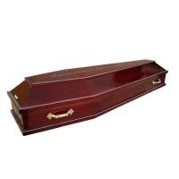 """ГЛ02 Гроб лакированный резной шестигранный """"Крест"""""""