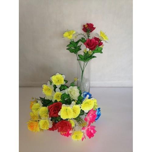 "У3458 Букет роза+нарцисс ""Авантюра"" 6в"